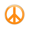 "Orange Peace 1.5"" Button  - stock # 650"