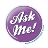 """Ask Me!"" 2.25 Purple Button - stock #2043"