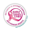 "Early Detection-Breast Cancer Awareness Month 2.25"" Button   - stock #2091"