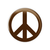 "Chocolate Brown Peace 1.5"" Button  - stock # 654"