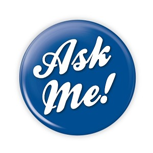 """Ask Me!"" 3.5 Blue Button  - stock #2033"
