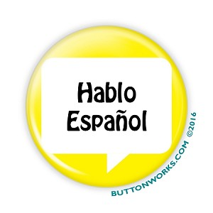 "Hablo Espa�ol Yellow - 2.25"" Button  - stock # 2040"