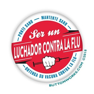 "Luchador Contra La Flu - Flu Fighter - Flu Shot -  2.25"" Buttons   - stock # 2096"