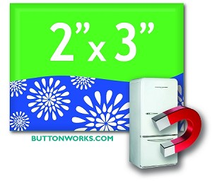 "Custom Button Fridge Magnets 2"" x 3""  Horizontal Rectangle"