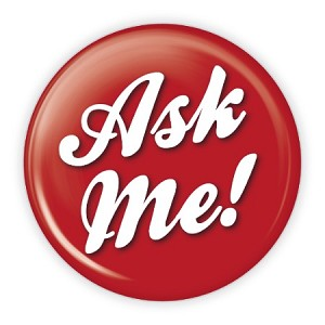 """Ask Me!"" 3.5 Red Button  - stock # 821"