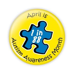 "Autism Awareness Month ""Puzzle"" 2.25"" Button   - stock # 611"