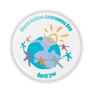 "World Autism Awareness Day Button - 2.25"" Round  - stock # 605"