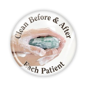 "Clean Before and After Each Patient 2.25"" Button  - stock # 829"