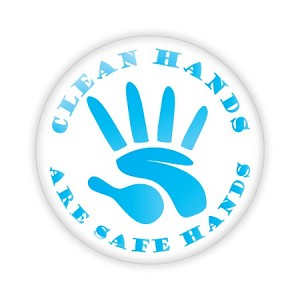 "Clean Hands Are Safe Hands 2.25"" Button  - stock # 830"