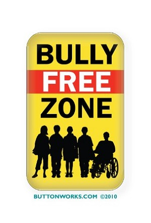 "Bully Free Zone  Button 1.75"" x 2.75"" Rectangle  - stock # 848"