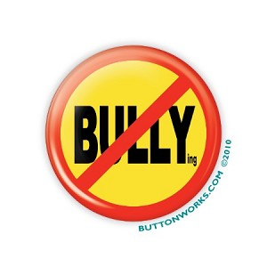 "No Bullying (yellow) 2.25"" Button  - stock # 847"