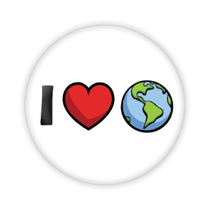 "I Heart Earth 2.25"" Button  - stock # 837"