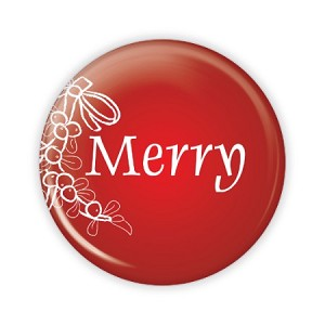 "Christmas - Merry - 2.25"" Button  - stock # 783"