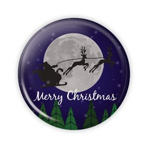 "Santa's Sleigh - 2.25"" Button  - stock # 718"
