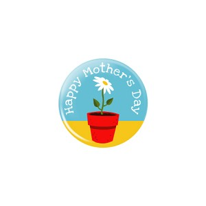"Mother's Day Flower Pot 1.25"" Button   - stock # 624"