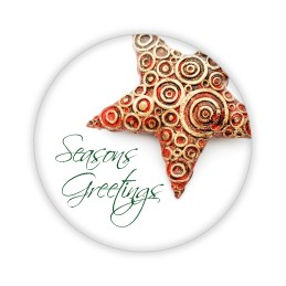 "Seasons Greetings Star - 2.25"" Button  - stock # 694"