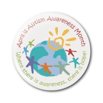 "Autism Awareness Month ""World"" 2.25"" Button    - stock # 612"