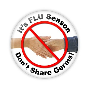 "It's FLU Season - Don't Share Germs 2.25"" Button   - stock # 695"
