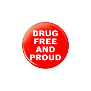 "Drug Free 1.5"" Button   - stock # 615"
