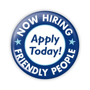 "Now Hiring Apply Today 2.25"" Button   - stock # 678"