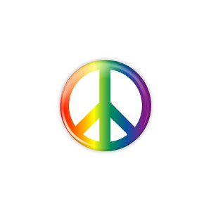 "Rainbow Peace 1.25"" Button  - stock # 616"