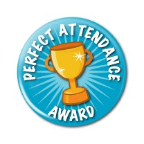 "Perfect Attendance Award 2.25"" Button    - stock # 622"