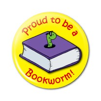 "Proud Bookworm 2.25"" Button   - stock # 621"