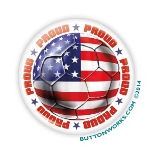 "Proud USA Soccer - 2.25"" Button  - stock # 1081"