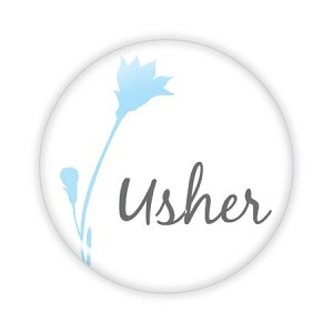 "Usher Blue Flower 2.25"" Button  - stock # 826"