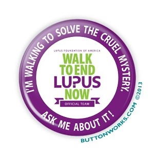 """Walk to End Lupus - Ask Me!"" 2.25"" Button  - stock # 886"